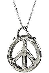 """Peace Sign Reversible 3D Sterling Silver Organic Style Pendant Necklace on an 18"""" Rope Chain"""