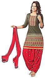 Vbuyz Women's Cotton Salwar Suit Dress Material (SS156-9010 _Red & Grey)