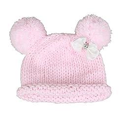 Bestknit Baby Girls Pompom Hat Props Crochet Knitted Pom Pom Hat Bow beanie Small pink