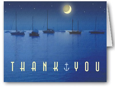 Nautical Moonlight Boat Theme Thank You - 10