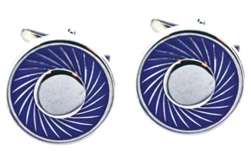 Code Red Base Metal Rhodium Plated Round Cufflinks with Purple Enamel Border Design