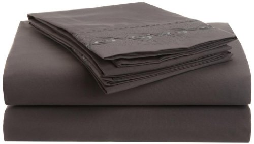Clara Clark Premier 1800 Chain Design 4Pc Bed Sheet Set - Queen Size, Charcoal Stone Gray front-984984