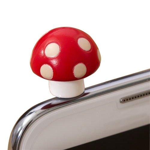 Poposh Red Mushroom Anti Dust Plug Earphone Cap Jack Headphone Port Stopper Caps For Smartphones Tablet Notebook With 3.5Mm Headphone Ports