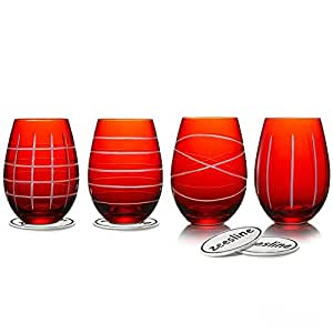 Set Of 4 Unique Red Stemless Wine Goblets