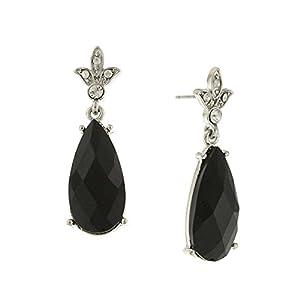 1928 Jewelry Womens Silver-Tone Black Faceted/Crystal Tear Drop Earrings