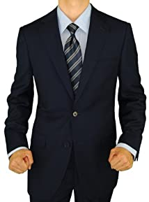 Presidential Giorgio Napoli 2 Button Mens Suit Modern Business Fit Dk Navy Blue