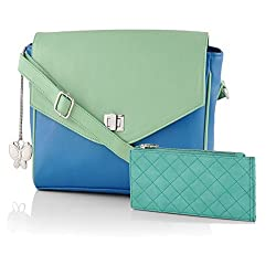 Butterflies Women's Handbag (Blue and Light Green) (BNS WB0148)