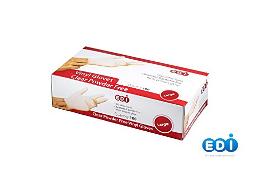 EDI Clear Powder Free Vinyl Glove,Disposable glove,Industrial Glove,Clear, Latex Free and Allergy Free, Plastic, Work, Food Service, Cleaning,100 gloves per box (100, large) (Food Service Gloves Latex Free compare prices)