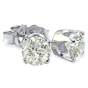 Classical 14 ct White Gold Solitaire Diamond Stud Earrings Brilliant Cut 0.50 Carat JK-I2 - 4mm*4mm