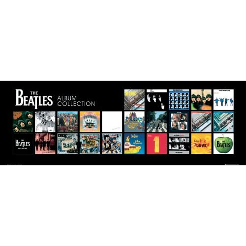 the beatles album cover collage classic rock music poster print 13x38 posters prints. Black Bedroom Furniture Sets. Home Design Ideas
