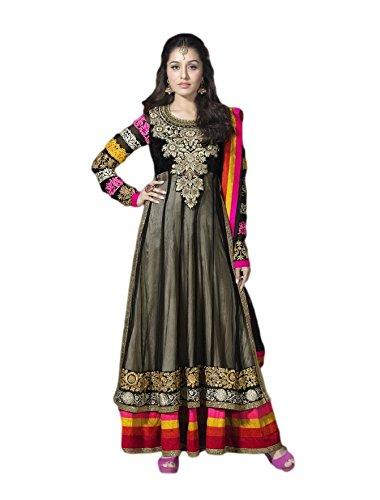 Pinkshink Stunning Black Long Anarkali Dress Material shk5