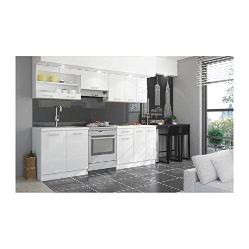 Jasny cuisine complete 2m40 avec plan de travail - laqué blanc