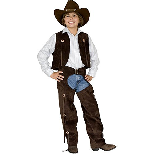 Kids Brown Leather Cowboy Chaps and Vest