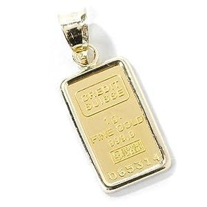 14K / 24K Gold One-Gram Credit Suisse Ingot Pendant