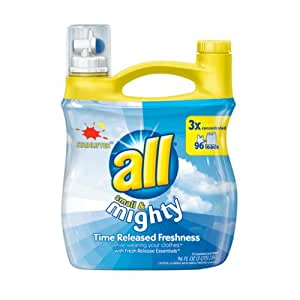 All Small & Mighty Triple Concentrated Liquid Laundry Detergent, Stainlifter, 96-Ounce Bottles (Pack of 4)