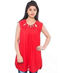 Feminine Red Solid Soft Net Tunic