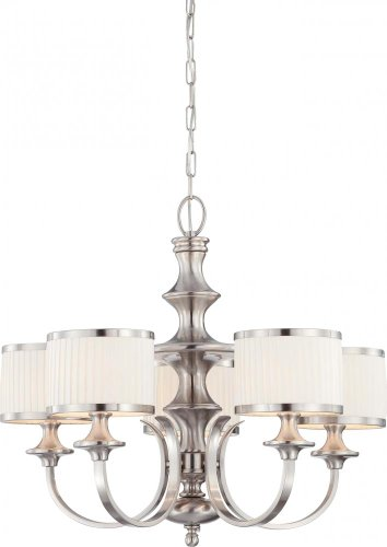 B005B7Q4DY Nuvo 60/4735 Candice Brushed Nickel Five Light Chandelier