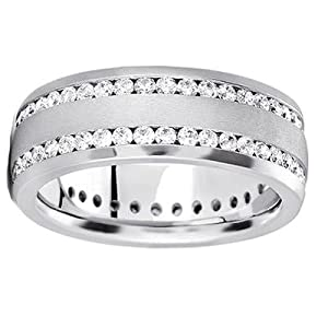 2.00 ct Men's Round Cut Eternity Wedding Band in Platinum size 10