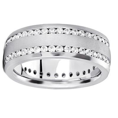 2.00 ct Men's Round Cut Eternity Wedding Band in Platinum size 10