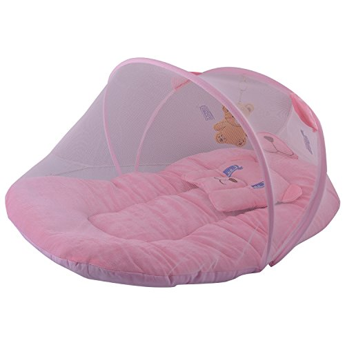 Mommas Baby INDIA Mommas Baby India Baby Bed With Net Velvet Pink