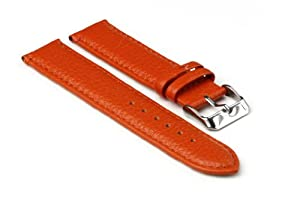 StrapsCo Orange Textured Grain Leather 16mm Watch Strap