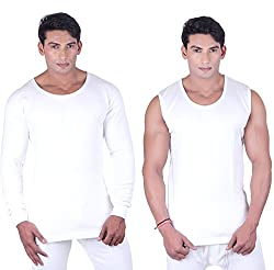 DREAMDROP WARMERS MEN WHITE FULLSLEEVES AND SLEEVELESS THERMALS (Medium)