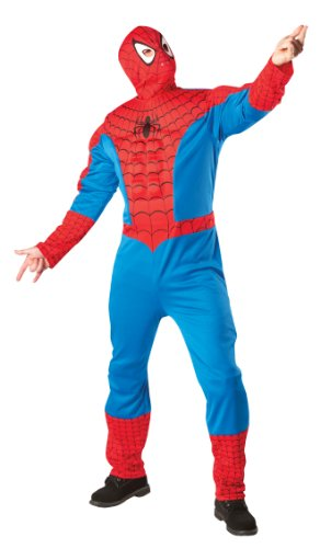 Muscle Chest Spiderman Fancy Dress Costume with Snood - Standard size