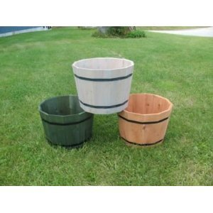 Stained Light Brown Colored Decorative Basic Half Whiskey Barrel Tub Planter 18 Inch Round | Cedar Wood Planter