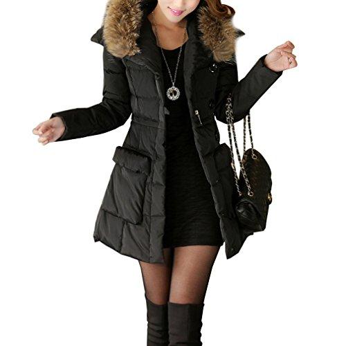 Komene Abrigo de invierno delgado de manga larga con cuello de pelo de imitación más gruesa caliente para mujer talla M Negro