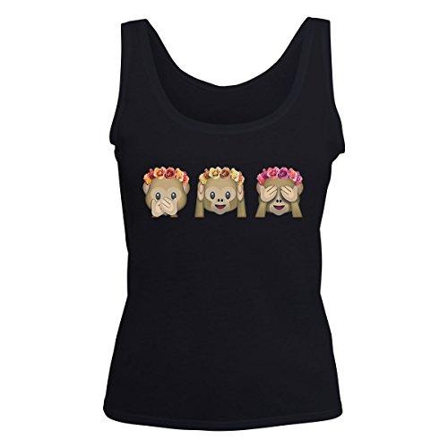 Emoji Monkeys Speak Hear See No Evil Flower Crown Women's Vest
