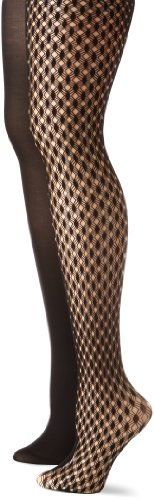 Betsey Johnson Women's 2 Pack Diamond Link Tights