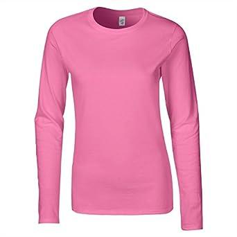 Gildan 64400L Softstyle Womens Ringspun Long Sleeve T-Shirt Azalea S