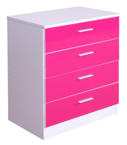 High Gloss Ottawa Caspian Pink / White 4 Drawer Chest Only