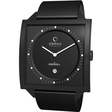 Obaku By Ingersoll Unisex Black Dial Black Leather Strap Watch