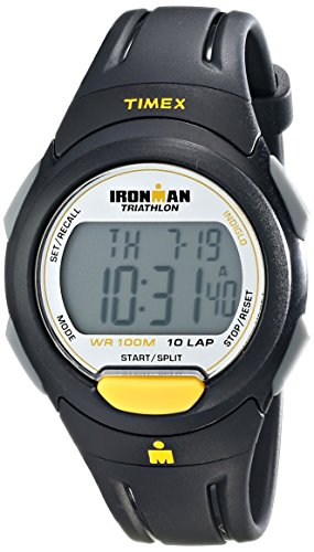 Timex Men's T5K779 Ironman Traditional 10-Lap Full-Size Black/Yellow Resin Strap Watch