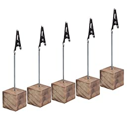 Cosmos® 5 Pcs Lightweight Cube Base Memo Clips Holder with Alligator Clip Clasp for Displaying Number Cards (Wooden Base)