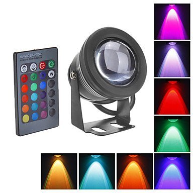 RUICAIKUN 10W Waterproof Outdoor RGB Light LED Flood Light with Remote Control (DC/AC 12V) (12v Rgb Led Lights compare prices)