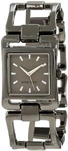 Nine West Women's NW/1353GNGN Square Gunmetal-Tone Open Link Bracelet Watch