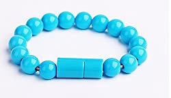 KARP Creative Beads Bracelet Charger Cable Lightning 8 Pin USB Interface Charging Cable for iPhone 6 5 5S 5C, iPad mini, iPod Nano (7th generation) iPod touch (5th Generation) (Light Blue)
