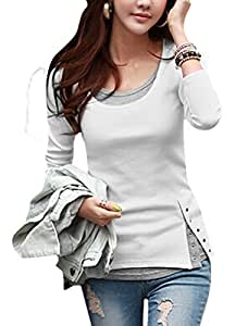 Ladies Pullover Snap Button Closure Casual Tunic Top Layered Shirt