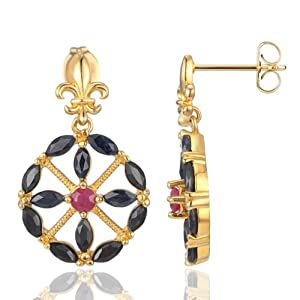 18k Gold Over Sterling Silver Sapphire and Ruby Royal Drop Earrings