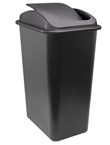 United Solutions WB0236 41-Quart Slim Fit Wastebasket with Swing Top Lid, 10.25 Gallon, Black (Swing Garbage Can compare prices)