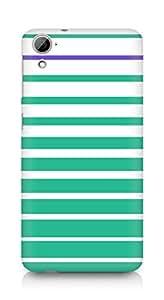 Amez designer printed 3d premium high quality back case cover for HTC Desrie 826 (green stripes design)