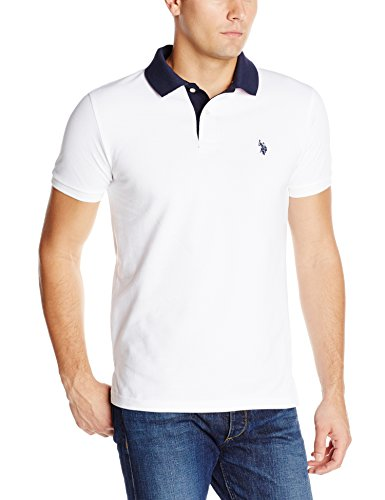 U.S. Polo Assn. Men'S Slim Fit Solid Pique With Contrast Color Striped Under-Collar, White, Medium
