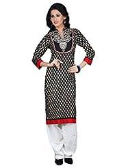 Sareeshut Black Color Cotton Fabric Readymade Printed Kurti - B00QRWMETK