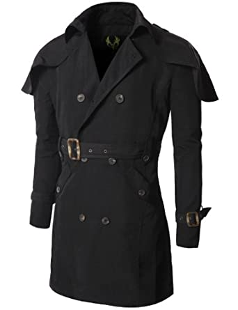 Buy Doublju Mens Trench Coat with Poncho Design
