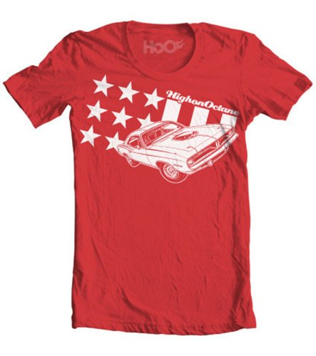 HoO Men's All American Cuda Stars and Stripes Muscle Car T-Shirt
