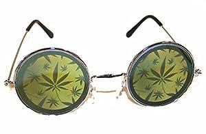1 pair Round Multiple Pot Leaves Hologram Glasses - Marijuana 3d Novelty Unisex Novelty Sunglasses by Novelties company