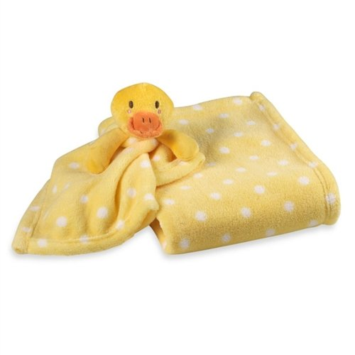 Yellow with White Dots Baby Blanket & Ducky Security Baby Blanket - 1