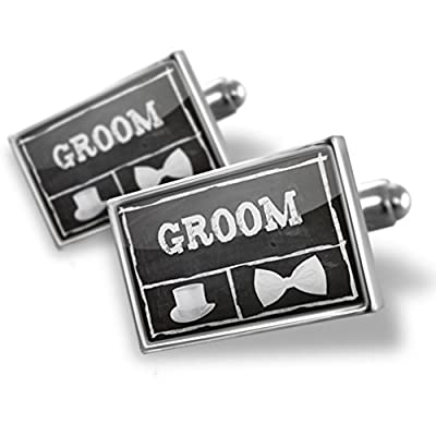 Sterling Silver Cufflinks Wedding Chalkboard with Groom - Neonblond